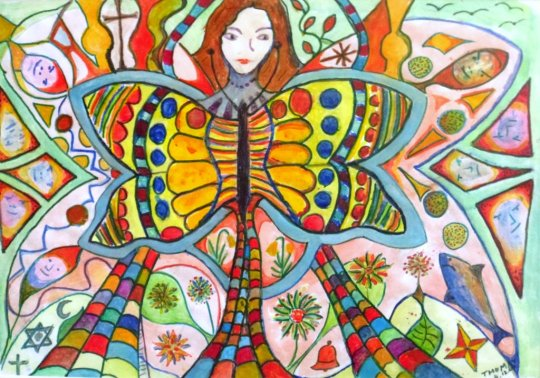 Painting of a butterfly figure by Thomas Milner