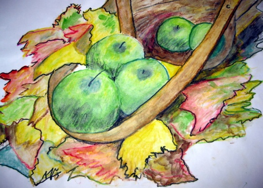 STILL LIFE WITH APPLES - PAINTING by THOMAS MILNER